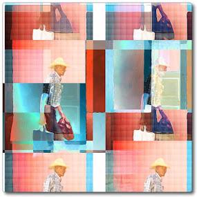 The Groceries by Pam Blackstone - Digital Art People ( orange, blue, shopping bag, pink, shopping, man walking, man, hat, cuba )