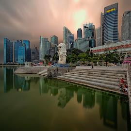 by Gordon Koh - City,  Street & Park  City Parks ( shenton way, icon, skyline, merlion, travel, cityscape, singapore, city, riberfront, landmark, financial district, skyscraper, buildings, asia, jubliee bridge, sunrise, waterfront )