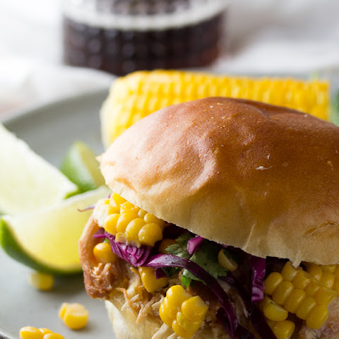 Pulled Honey Lime Chicken Sandwiches with Corn & Cabbage Slaw