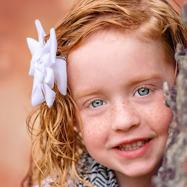Baby Blue Eyes  by Jesse Mobley - Babies & Children Child Portraits ( girl, blue eyes, redhead, smile, freckles )