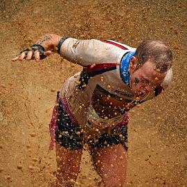 Escaping By Attacking by Marco Bertamé - Sports & Fitness Other Sports ( attacking, brwon, differdange, splash, splatter, 319, 2015, number, escaping, soup, waterdrops, running, stron, luxembourg, mud, raining, drops, dirty, strongmanrun, murphy, man )