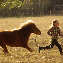 Running free by Giselle Pierce - Babies & Children Children Candids ( child, little girl, free, friends, girl, run ree, horse, children, gelding, run, kid )