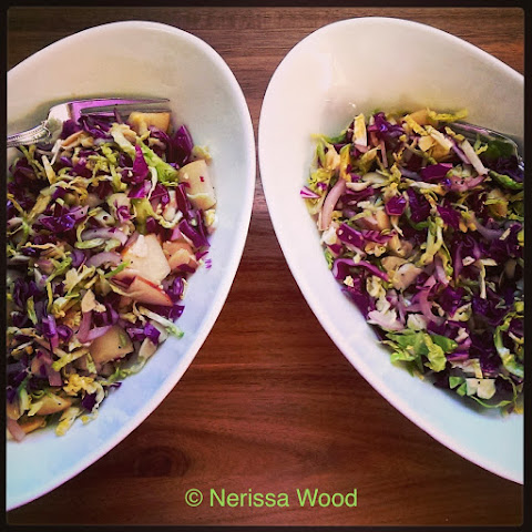 Winter Salad of Shaved Brussel Sprouts & Red Cabbage