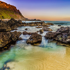 Rock pool  by Nicole Rix - Landscapes Waterscapes ( water, hill, sand, waterscape, shallow, sunset, cliff, seascape, rocks )