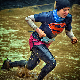 Here Comes Superwoman by Marco Bertamé - Sports & Fitness Other Sports ( water, splash, splatter, differdange, 2015, waterdrops, soup, race, running, mud, s, strong, luxembour, woman, drops, dirty, lady, brown, superwoman, strongmanrun,  )