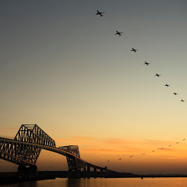 North by northeast by Hiro Nakajima - Transportation Airplanes ( japan, airplane, tokyo, bay bridge, dusk, evening )