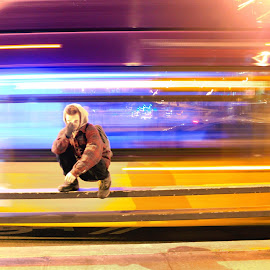 Set in Motion  by Josh Swensen - City,  Street & Park  Street Scenes ( #bus #seattle #streets #longexposure #colors #night,  )