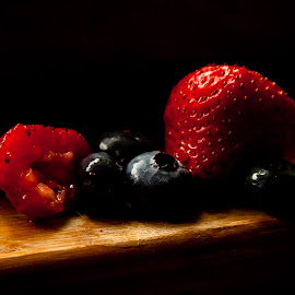 Strawberries and Blueberries by Phillip Campbell - Food & Drink Fruits & Vegetables ( fruit, life, still, berries )