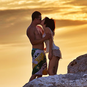 Kissie... by Ali Brown - People Couples ( love, kiss, sunset, beach, romance )