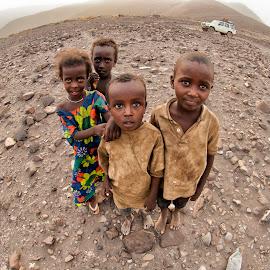 Afar Children by Joseph McKee - Babies & Children Children Candids ( afar, desert, girl, djibouti, children, africa, rocks, boy,  )