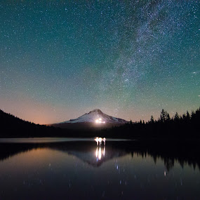 Trillium Lake by Zach Blackwood - Landscapes Starscapes ( mountain, stars, trillium lake, northern lights, night, astrophotography, mt hood, sunrise, milky way )