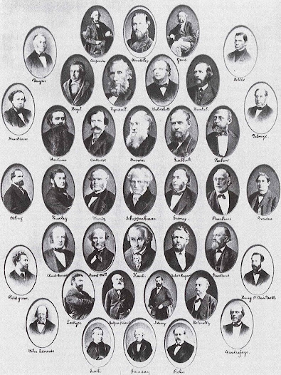 "Ernest Solvay's ""bedside picture"" (1877), consisting of portraits of thinkers and scholars who influenced him in his scientific quest. © Solvay Heritage Collection"