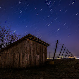 Alone in the dark by Dani Turnšek - Buildings & Architecture Decaying & Abandoned ( canon, hops, startrails, shed, sky, slovenija, stars, nighttime, night, alone, longexposure, fields, starry, 10minutes )