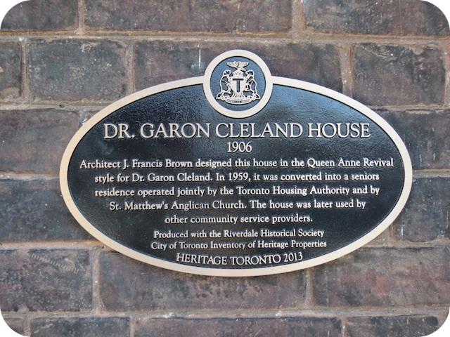 Architect J. Francis Brown designed this house in the Queen Anne Revival style for Dr. Garon Cleland. In 1959, it was converted into a seniors residence operated jointly by the Toronto Housing ...