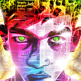 My look v2 by Vignesh Prabagar - Typography Words ( face, colorful, stars, collage, effects, glowing, newspaper )