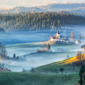 Cold morning by Stane Gortnar - Buildings & Architecture Public & Historical ( hills, foggy, slovenija, church, gorenjska, trees, historical, morning )