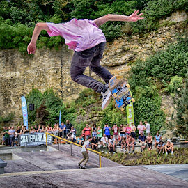 Flying Board ! by Marco Bertamé - Sports & Fitness Skateboarding ( skateboarding, flying, pink, air, high, jump )