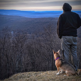 A Man and His Dog by Diane Ljungquist - People Portraits of Men