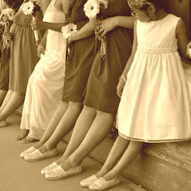 Bride and her crew by L. Taylor - Wedding Groups ( shoes, wedding photography, sepia, weweddings,  )