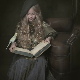 Reading to my friend by Carola Kayen-mouthaan - Babies & Children Child Portraits ( child, bird, girl, fine art, portrait )