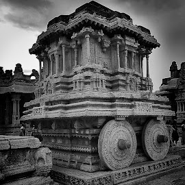 Stone Chariot  by Vaibhav Jain - Buildings & Architecture Architectural Detail ( temple, old, hampi, chariot, stone, monument, heritage site )
