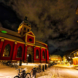 NOW ROLLING, FOUND THE BIKE by Michael Rey - City,  Street & Park  Street Scenes ( winter, stockholm, bikes, night scene, snow )