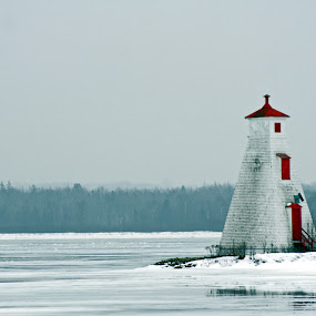 Winter Light by Philip O'Brien - Buildings & Architecture Other Exteriors ( water, pwclandmarks, winter, red, snow, lighthouse, ice house, light, nautical, World_is_RED,  )