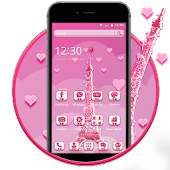 APK App Pink Paris Eiffel Tower 2D theme && Wallpaper for BB, BlackBerry