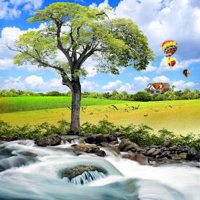 River and house by Shahril Khmd - Illustration Flowers & Nature ( water, grass, green, illustration, journey, forest, house, balloon, drawing, skies, city, bird, chair, sky, tree, blue, fog, wave, clue, hot, air, earth, flower, river )