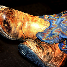 Cowgirl Boots by Noel Hankamer - Uncategorized All Uncategorized ( work, worn, blue, cowgirl, brown, used, boots,  )
