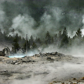 by Rhonda Tucker - Landscapes Mountains & Hills ( yellowstone old faithful inn 3 )