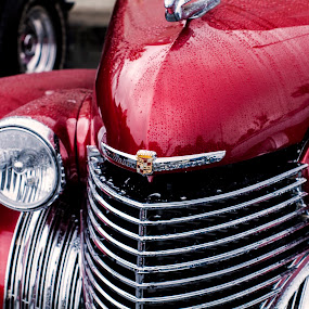 Old School Luxury by Frank Matlock II - Transportation Automobiles ( antinque, red, cadillac, wet, rain, classic )