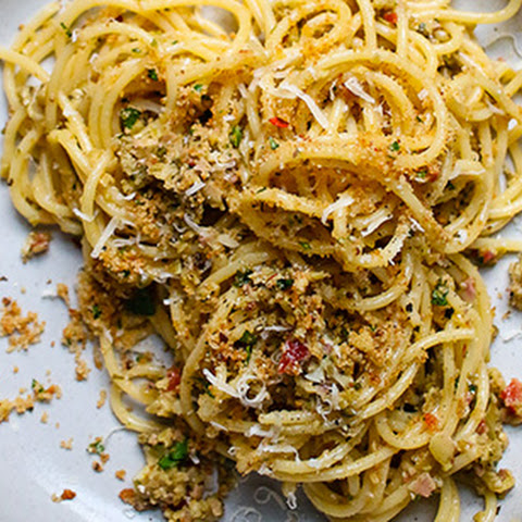 Spaghetti with Olive Tapenade and Toasted Garlic Breadcrumbs