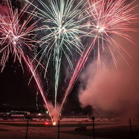 Speedway fireworks by Brett Wright - Public Holidays July 4th ( rockford speedway, canon, close range fireworks, speedway, fireworks, 10mm, rockford )