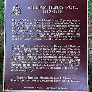 WILLIAM HENRY POPE1825-1879Born at Bedeque, Prince Edward Island, Pope was admitted to the bar in 1847, became Colonial Secretary in 1859, was elected to the Legislative Assembly representing Queen's ...