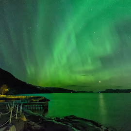 Aurora dancing by Knut Saglien - Landscapes Weather ( sognefjorden, northern lights, long exposure, nordlys, norway,  )