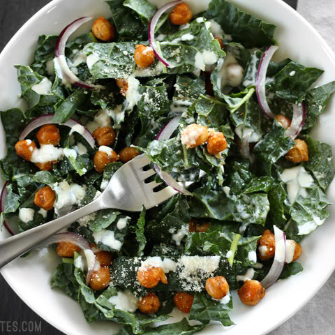 Kale Salad with Cajun Spiced Chickpeas and Buttermilk Dressing