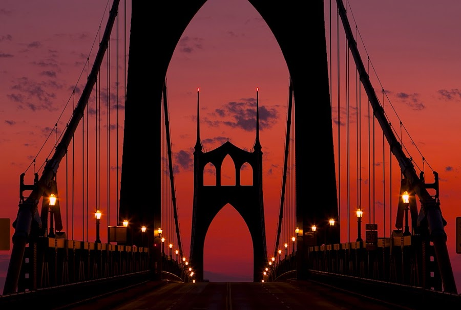 St. John's Bridge, Portland, OR by Cliff Snell - Buildings & Architecture Bridges & Suspended Structures