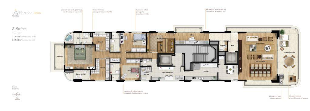 Planta Opção 3 suítes 273 m²