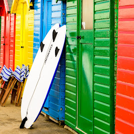Board by Darrell Evans - Buildings & Architecture Other Interior ( beach hut, building, relax, colorful, chairs, hut, green, door, whitby, yellow, seaside, holiday, wooden, colourful, red, blue, yorkshire, surfboard, outdoor, summer )