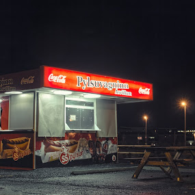 Hot dog stand by Stefán Margrétarson - City,  Street & Park  Markets & Shops ( coca cola, lights, building, bench, night, hot dog stand, fast food )