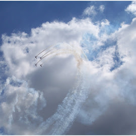Clouds and Contrails by Sandy Stevens Krassinger - Transportation Airplanes ( clouds, contrails, blue sky, airplanes, transportation,  )