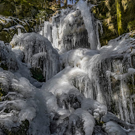 Ice waterfall... by Martin Namesny - Nature Up Close Water ( water, ice, waterfall, freezing waterfall, frozen, light )