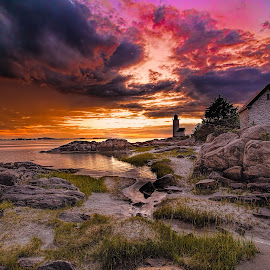 Annisquam by Ron Phillips - Landscapes Sunsets & Sunrises ( clouds, sand, sunset, colors, beautiful, lighthouse, long exposure, beach, rocks )