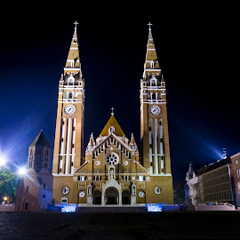 Szegedi Dom at Night by Lajos E - Buildings & Architecture Places of Worship ( lights, hungary, votive, church, dom, szegedi, dark, cathedral, night, square, evening, szeged, hungarian )