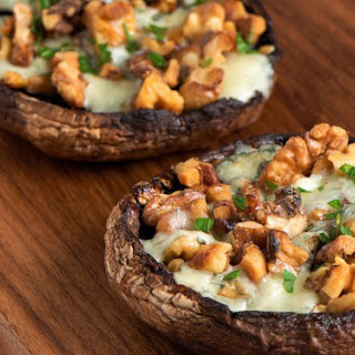 Broiled Gorgonzola & Walnut Portobello Mushrooms