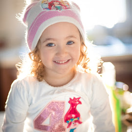Birthday Girl by Mike DeMicco - Babies & Children Child Portraits ( love, birthday, sweet, girl, blue, curls, smile, pretty, eyes )