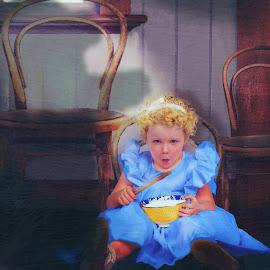 Goldilocks by Shannon Kirk - Babies & Children Child Portraits ( child, bear, storybook, girl, porridge, bue dress, portrait, fairytale, goldilocks )