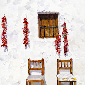 Peppers and Chairs by Margaret Merry - Painting All Painting ( watercolor, chair, peppers, spanish art, village, andalucia, house, painting, watercolour, almeria, spain )