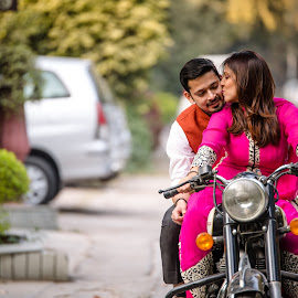 Bikers by Kshitij Bhaswar - Wedding Bride & Groom ( canon, beauty, indian wedding, love, kiss, bike, wedding, weddings, pre wedding, indian couple, indian marriages, marriages, engagement )